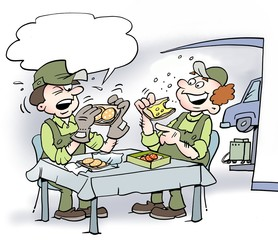 Cartoon illustration of two mechanics who eat lunch, one of them using soft work gloves