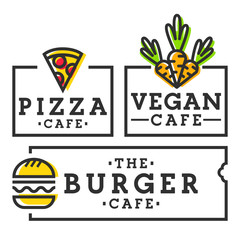 Burger cafe. Pizza and vegan cafe. Set logo, emblem, label