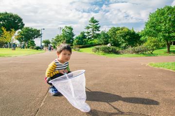 虫取り網を持つ男の子