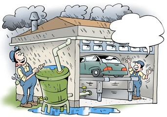 Cartoon illustration of a workshop that recycles water from the roof