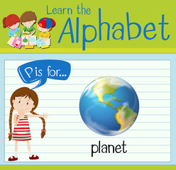Flashcard letter P is for planet