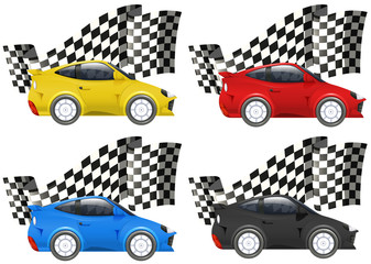 Racing cars in four colors