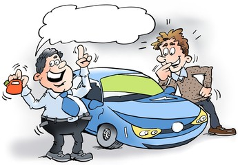 Cartoon illustration of a car salesman showing a hybrid Car and a small petrol can