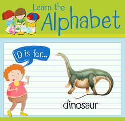 Flashcard letter D is for dinosaur