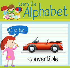 Flashcard letter C is for convertible