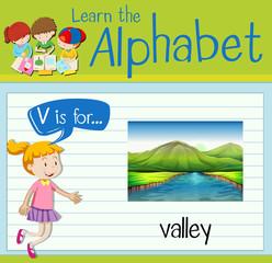 Flashcard letter V is for valley