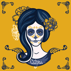 Catrina. Girl with marigolds flowers in her hair and make-up to the Mexican holiday Day of the Dead. Dia de Los Muertos card. Invitation poster. Halloween.