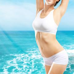 Young woman beautiful sea background