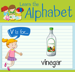 Flashcard letter V is for vinegar