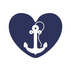 dark blue heart with anchor inside vector illustration