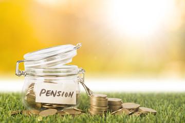 Pension saving money concept