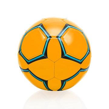 Orange soccer ball isolated on white background.