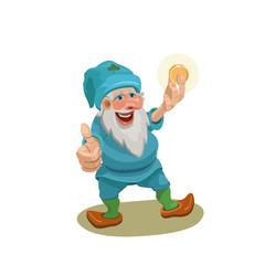 Gnome holding a gold coin/ Dwarf here, a gold coin looks at it and shows his hand with his thumb that all will be well with You in business!
