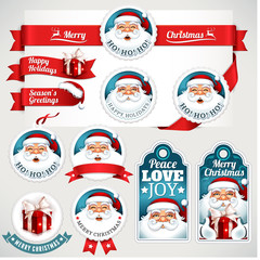 Christmas labels, badges and banners with Santa Claus, present, hat and reindeer illustrations in retro style. Set of calligraphic and typographic decorative design elements.