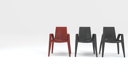 3d rendering contrast color chair with modern design