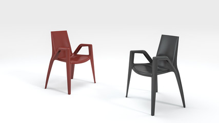 3d rendering good design black and red chair