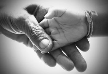 Hand man holding hand baby black and white picture. concept idea.