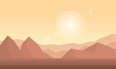 Silhouette of dessert and hill landscape