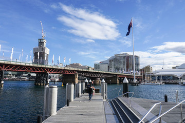 people spend time at Darling Harbour in Sydney taken on 8 July 2016