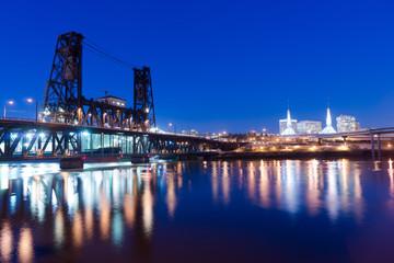 Steel Bridge Oregon Street Willamette River Downtown Portland