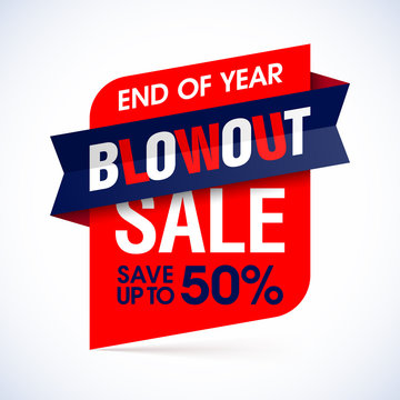 End of year blowout sale banner. Special offer, big sale, save up to 50%.