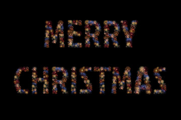 Colour fireworks light up forming a MERRY CHRISTMAS word