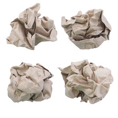 Crumpled recycle paper ball isolated on white with clipping path