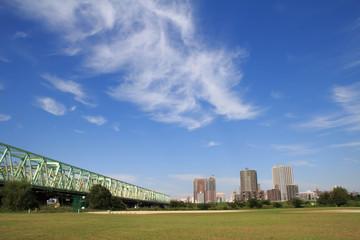 Autumn sky of Arakawa river