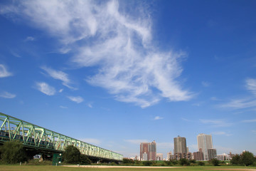 Autumn sky of Arakawa river