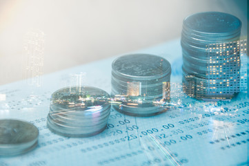 Double exposure of city and rows of Thai coins, finance and banking concept