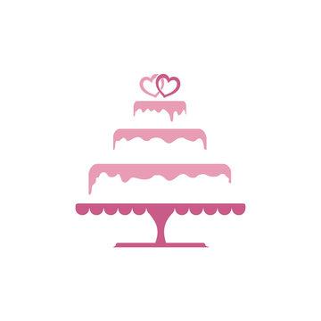 Sweet Tiered Love Wedding Cake Logo Template