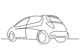 continuous line drawing of hatchback car
