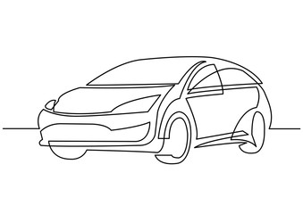 continuous line drawing of motor car