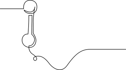 continuous line drawing of phone receiver