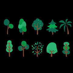 trees on a black background