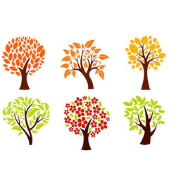 Different autumn trees