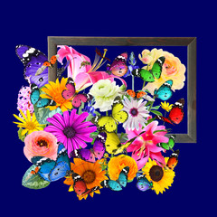 Colorful flowers, butterflies and ladybug art composition with Wooden frame on dark blue background