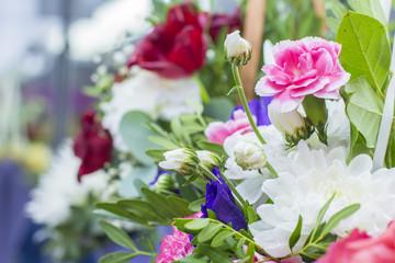 background blur bright colorful bouquet of flowers at the florist shop, a close plan