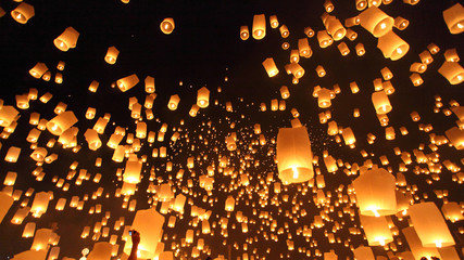 Floating lanterns ceremony or Yeepeng ceremony, traditional Lann