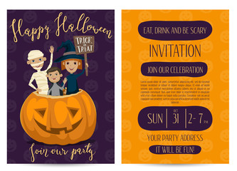 Halloween party invitation set with place for text. Funny kids in carnival costumes mummy, vampire and witch sitting in pumpkin with sign - Trick or Treat. Vector illustration on perpl background