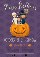 Halloween party poster design with funny kids in carnival costumes mummy, vampire and witch sitting in pumpkin with sign - Trick or Treat. Cartoon vector illustration isolated on perpl background