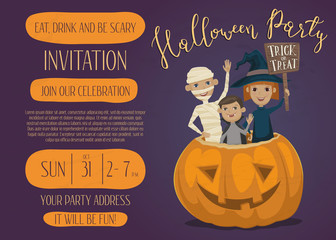 Halloween party invitation design with funny kids in carnival costumes mummy, vampire and witch sitting in pumpkin with sign - Trick or Treat. Cartoon vector illustration isolated on perpl background