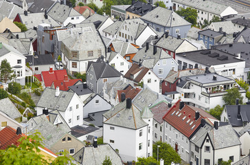 Norway. Aerial european city view. Alesund. Kniven viewpoint.
