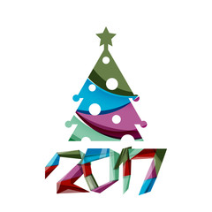 Christmas tree, New Year banner elements