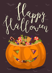 Happy Halloween party poster with smiling pumpkin head jack full of sweet candies, isolated cartoon vector illustration on brown background. Trick or treat concept. Halloween vintage design template