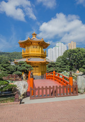 golden teak wood pagoda at Nan Lian Garden in Hong Kong