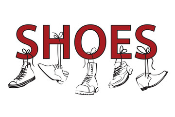 illustration with text and hanging on shoelaces shoes