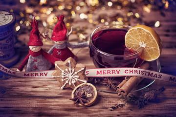 schöne Weihnachtskarte Grüße Glühwein