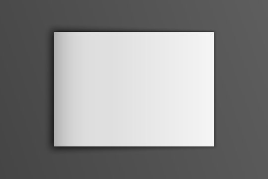 Blank mock up vector landscape cover magazine isolated on gray.