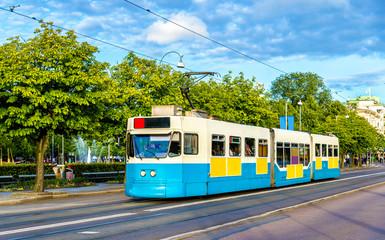 Tram on a street of Gothenburg - Sweden